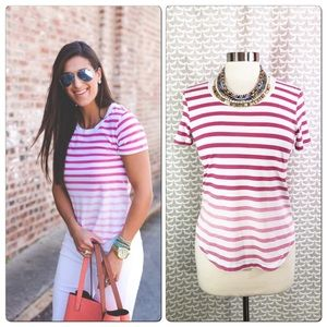 Splendid Anthro Ombre Pink Stripe T Shirt Blouse